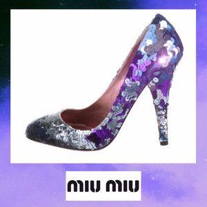 Miu Miu Sequin blue/silver/purple sparkly pumps